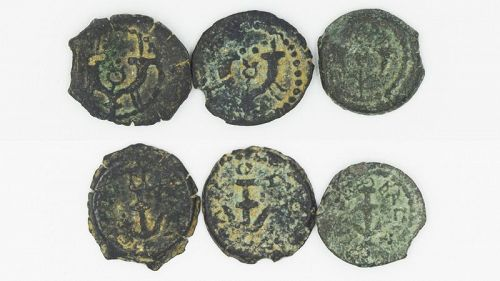 THREE BRONZE PRUTOT OF HEROD THE GREAT