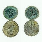TWO BRONZE FOLLES OF MAXIMIAN AND HIS SON MAXENTIUS