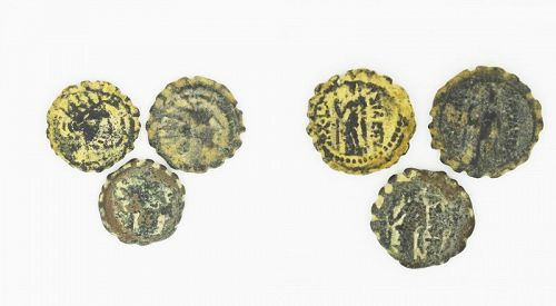 THREE BRONZE COINS OF ANTIOCHUS IV EPIPHANES WITH GODDESS