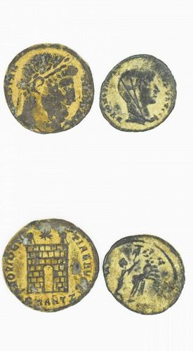 TWO BRONZE FOLLES OF CONSTANTINE; 1 LIFETIME AND 1 POSTHUMOUS ISSUE