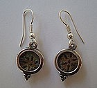 TWO BRONZE WIDOW'S MITE COINS SET IN SILVER EARRINGS