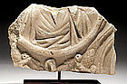 A LARGE ROMAN MARBLE SARCOPHAGUS FRAGMENT