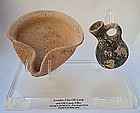 AN ISRAELITE OIL LAMP AND DIPPER JUGLET