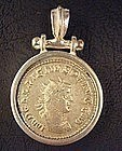 A ROMAN ANTONINIANUS OF GALLIENUS SET IN SILVER PENDANT