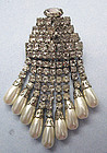Art Deco Style Rhinestone and Faux Pearl Pin, c. 1950