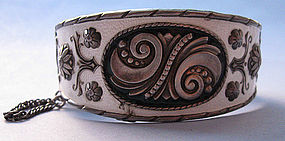 Norwegian Sterling and Enamel Hinged Cuff, c. 1960