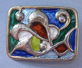 Norwegian Sterling and Enamel Pin by Balle, c. 1960