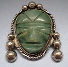 Large Mexican Sterling Pin with Carved Face, c. 1950