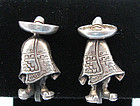 Pair Mexican Sterling Figural Earrings, c. 1940