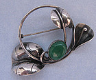 Handmade Sterling and Green Onyx Pin, c. 1950