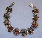 Silver and Faux Garnet Bracelet, c. 1970