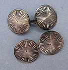French Engraved Silver Cuff Links, c. 1930