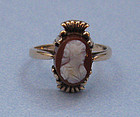 Gold and Carved Glass Cameo Ring, c. 1950
