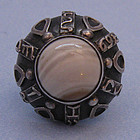 Polish Silver and Agate Ring, c. 1970