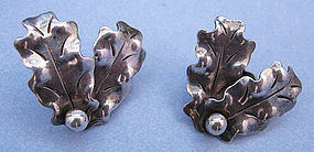 A. Manca Handmade Sterling Earrings, c. 1940