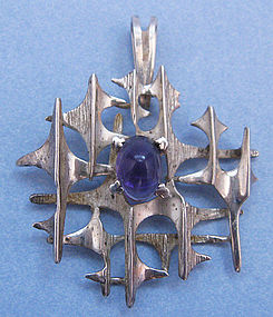 Sterling and Amethyst Pendant, Argentina, c. 1965