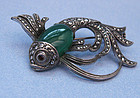 European Silver and Chrysoprase Fish Pin, c. 1935