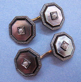 Art Deco Black Mother-of-Pearl Cuff Links, c. 1925