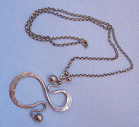Sterling Norwegian Pendant with Chain, c. 1965