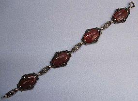 Carnelian and Sterling Link Bracelet, c. 1930