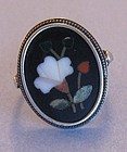 Italian Pietra Dura and Silver Ring, c. 1950