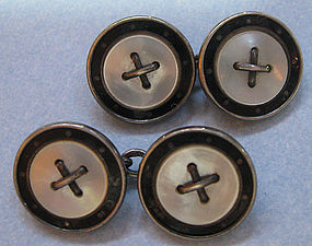 Silver, Enamel, Mother-of-Pearl Cuff Links, c. 1920