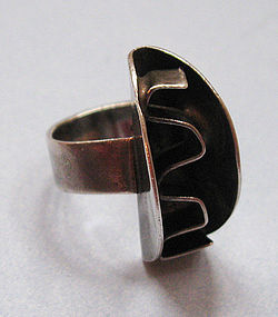 Sterling Ring of Abstract Design, c. 1970