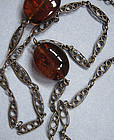 European Amber and Silver Chain, c. 1900
