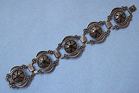 Mexican Sterling and Faux Onyx Bracelet, c. 1965