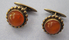 Russian Silver and Amber Cuff Links, 1957