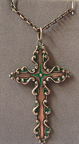 Sterling and Enamel Cross on Chain, c. 1915