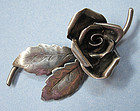 Sterling Handmade Rose Pin, c. 1940