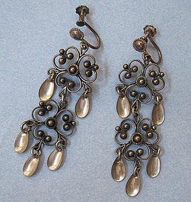 Norwegian Sterling Solje Earrings, c. 1960