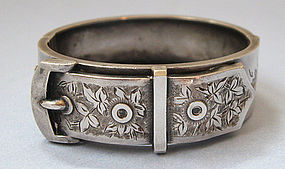 American Sterling Buckle Bangle, c. 1890