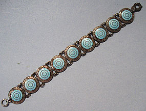 Sterling and Enamel Embossed Bracelet, c. 1930
