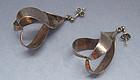 Handmade Sterling Twisted Ribbon Earrings, c. 1970