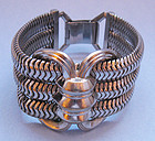 Large White Metal Retro Bracelet, c. 1950