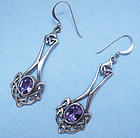 Sterling and Amethyst Celtic Style Earrings, c. 1990