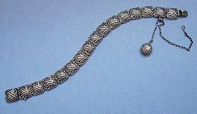 American Sterling Embossed Link Bracelet, c. 1887