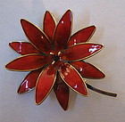 Norwegian Sterling and Enameled Flower Pin, c. 1965