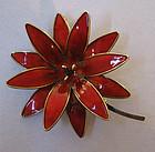 Norwegian Sterling and Enameled Flower Pin, c. 1965