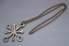 Danish �Snowflake� Pendant and Chain, c. 1970