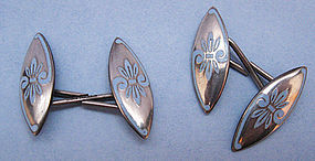 American Gilded Sterling and Enamel Cuff Links, c. 1890