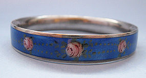 American Sterling and Enamel Hinged Bangle, c. 1950