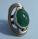 Teppich Sterling and Chrysoprase Handmade Ring, c. 1955