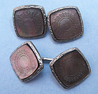 Carved Abalone Cuff Links, c. 1925