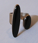 Native American Sterling and Onyx Ring, c. 1980