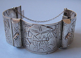 Mexican Sterling Panel Bracelet, c. 1970