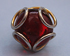 Red Glass Cabochon Ring, c. 1965