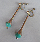 Mexican Sterling and Ceramic Pendant Earrings, c. 1955